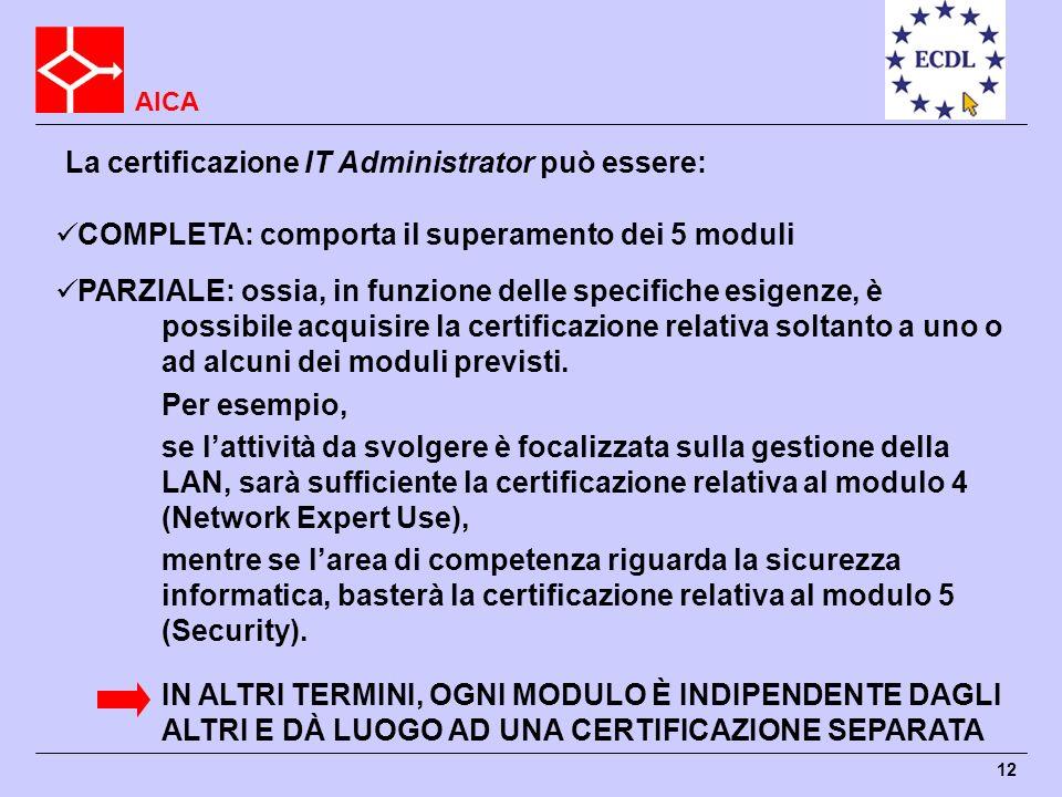 La certificazione IT Administrator può essere:
