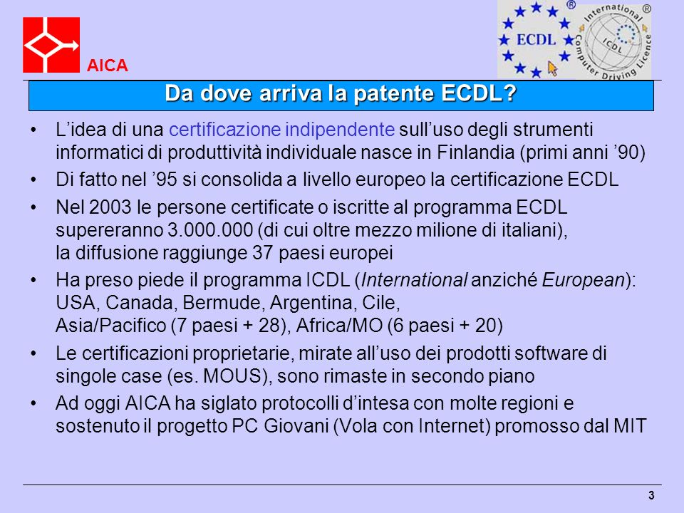 Da dove arriva la patente ECDL