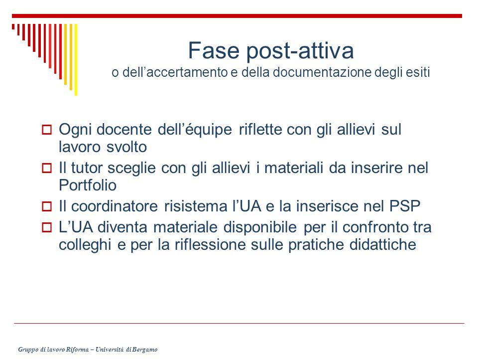 Fase post-attiva o dell'accertamento e della documentazione degli esiti