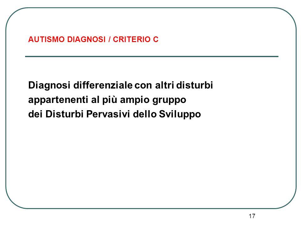 AUTISMO DIAGNOSI / CRITERIO C