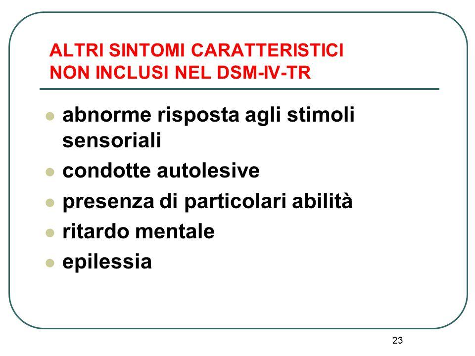 ALTRI SINTOMI CARATTERISTICI NON INCLUSI NEL DSM-IV-TR