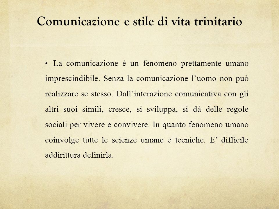 Comunicazione e stile di vita trinitario