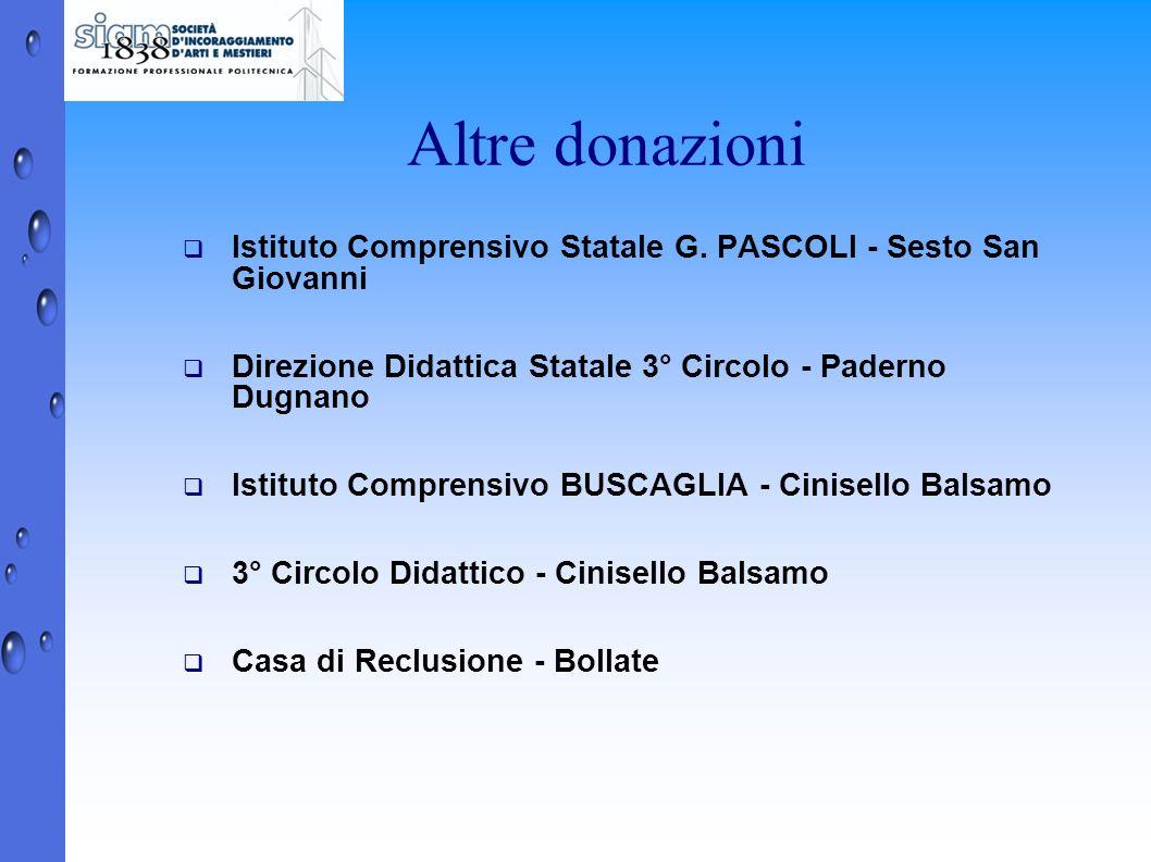 Altre donazioni Istituto Comprensivo Statale G. PASCOLI - Sesto San Giovanni. Direzione Didattica Statale 3° Circolo - Paderno Dugnano.