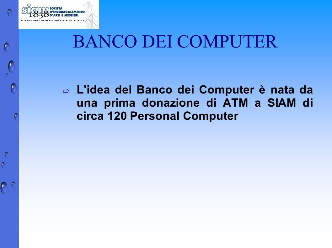 BANCO DEI COMPUTER L idea del Banco dei Computer è nata da una prima donazione di ATM a SIAM di circa 120 Personal Computer.