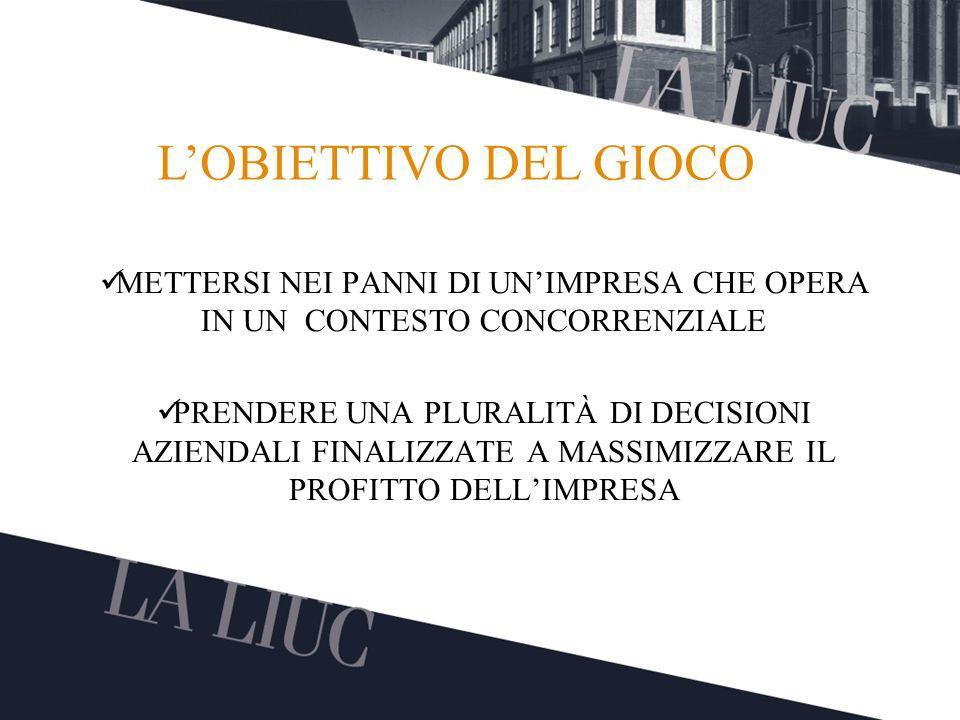 L'OBIETTIVO DEL GIOCO METTERSI NEI PANNI DI UN'IMPRESA CHE OPERA IN UN CONTESTO CONCORRENZIALE.