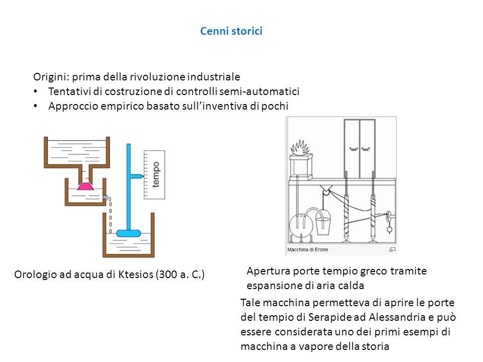Cenni storici Origini: prima della rivoluzione industriale. Tentativi di costruzione di controlli semi-automatici.