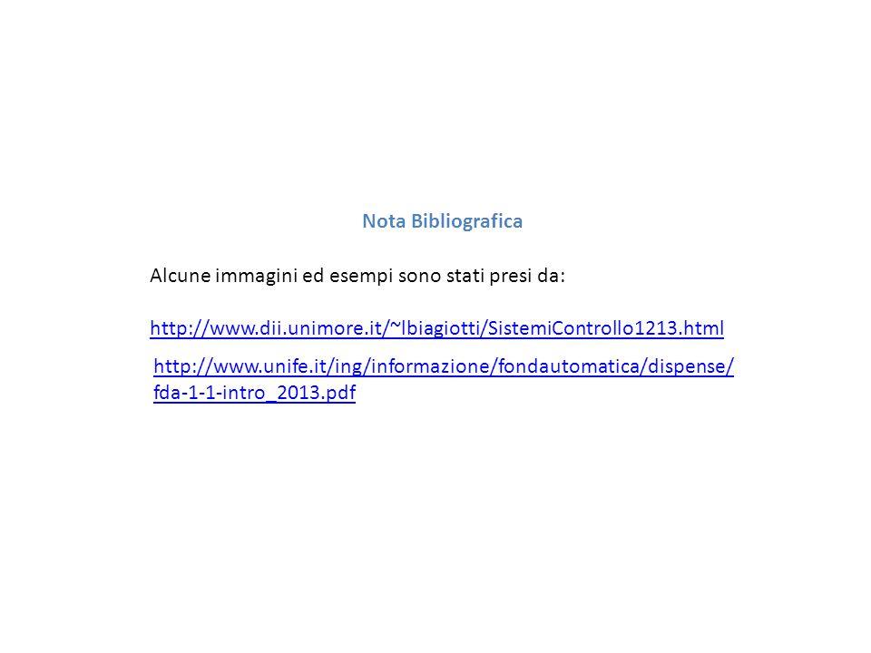 Nota Bibliografica Alcune immagini ed esempi sono stati presi da: http://www.dii.unimore.it/~lbiagiotti/SistemiControllo1213.html.