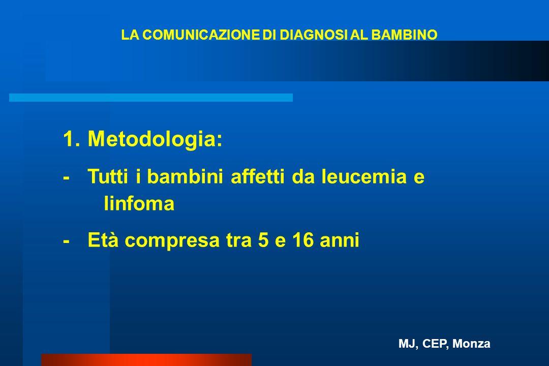 1. Metodologia: - Tutti i bambini affetti da leucemia e linfoma