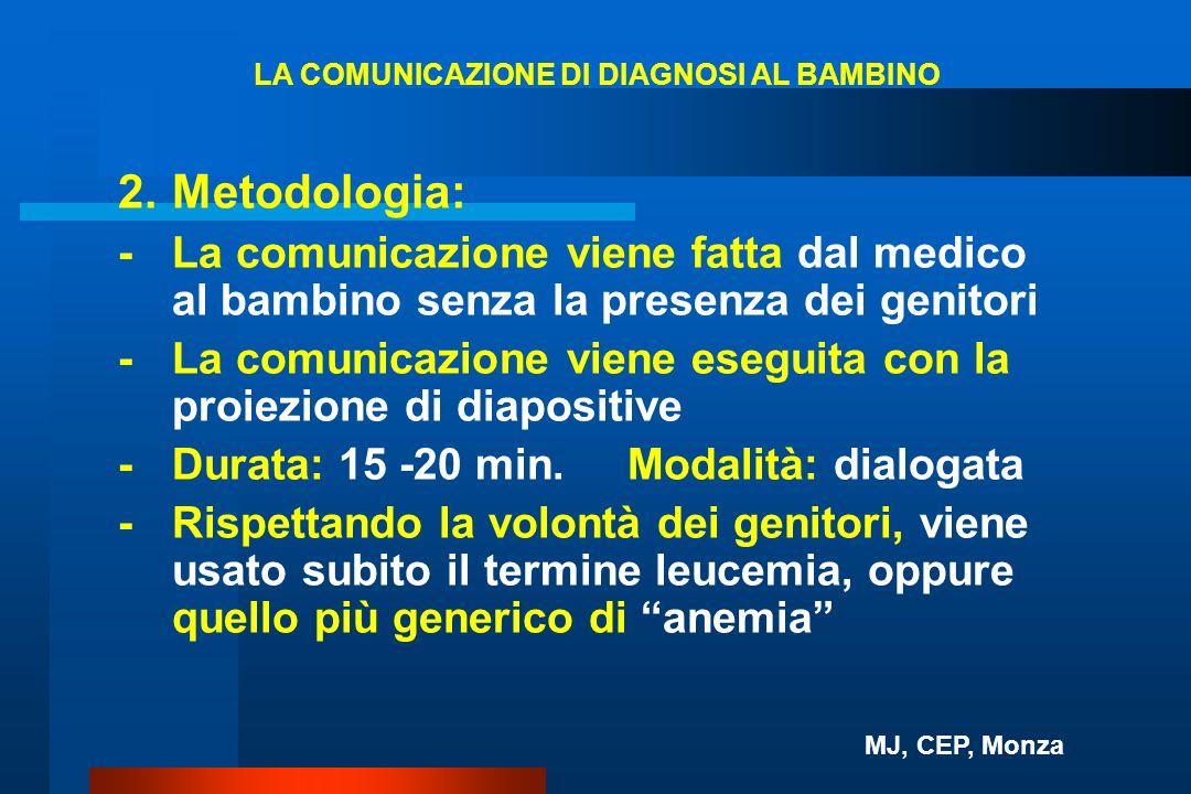 LA COMUNICAZIONE DI DIAGNOSI AL BAMBINO