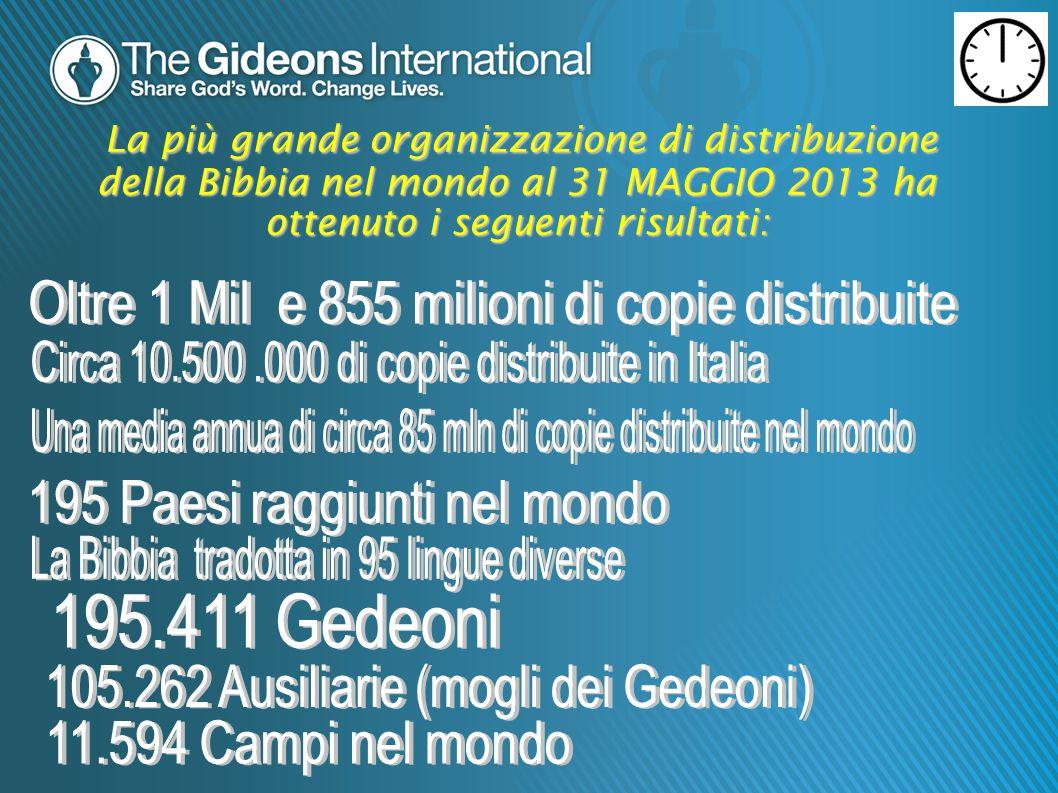 La più grande organizzazione di distribuzione della Bibbia nel mondo al 31 MAGGIO 2013 ha ottenuto i seguenti risultati: