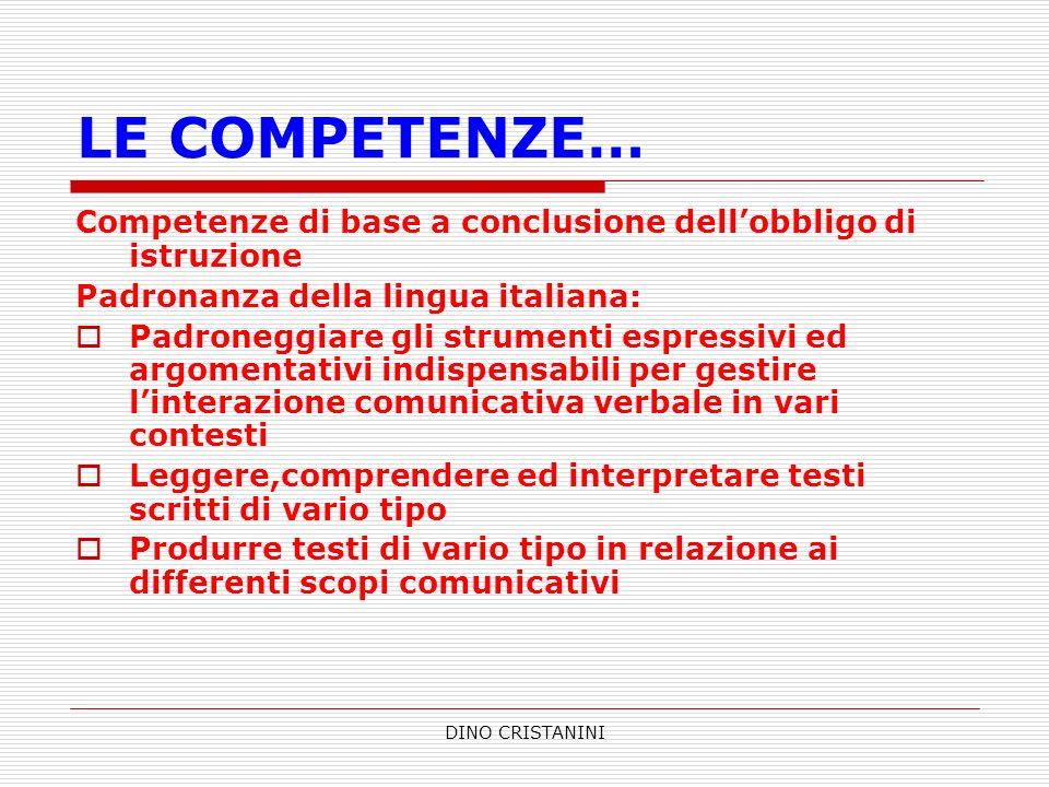 LE COMPETENZE… Competenze di base a conclusione dell'obbligo di istruzione. Padronanza della lingua italiana:
