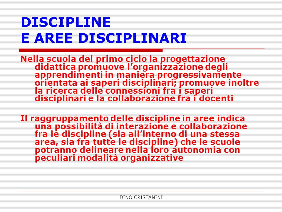 DISCIPLINE E AREE DISCIPLINARI