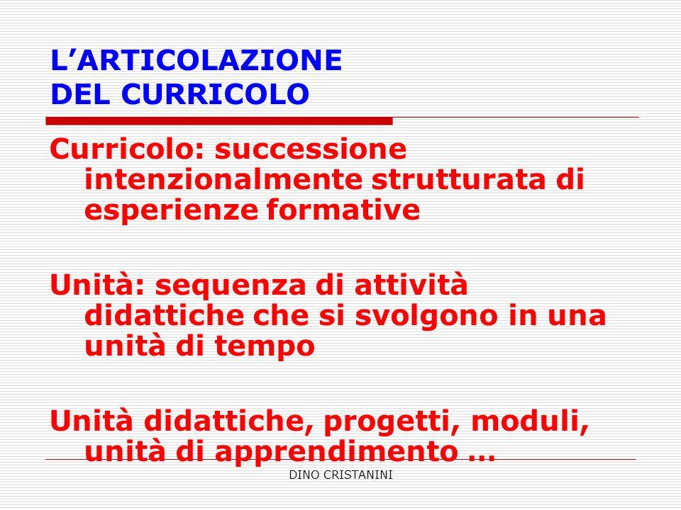 L'ARTICOLAZIONE DEL CURRICOLO