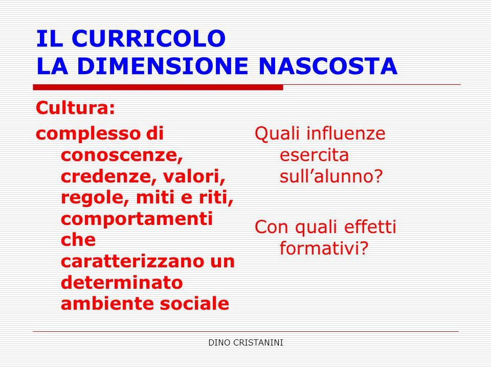 IL CURRICOLO LA DIMENSIONE NASCOSTA