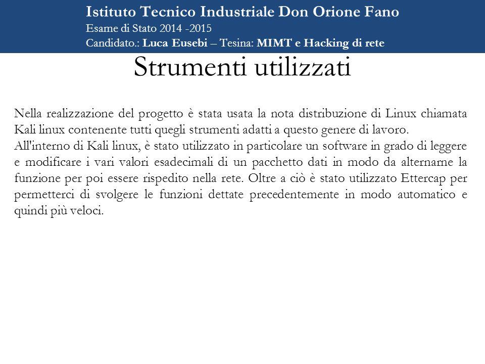 Strumenti utilizzati Istituto Tecnico Industriale Don Orione Fano