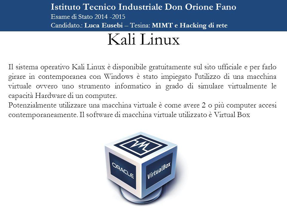 Kali Linux Istituto Tecnico Industriale Don Orione Fano