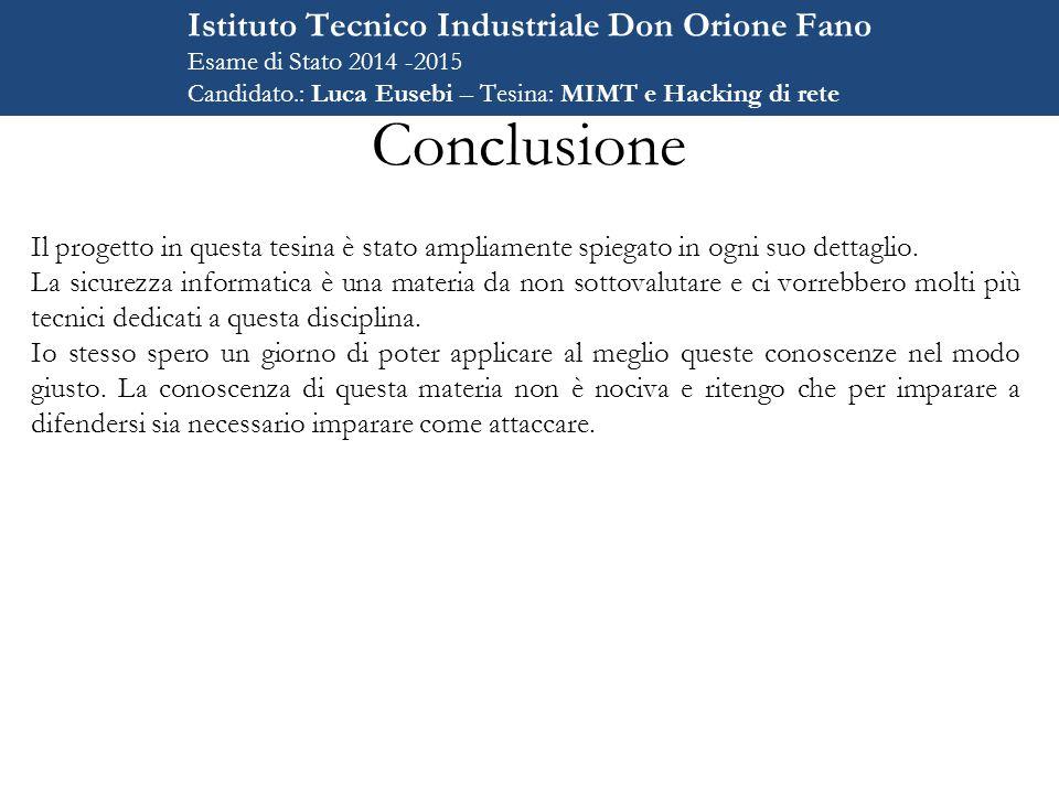 Conclusione Istituto Tecnico Industriale Don Orione Fano