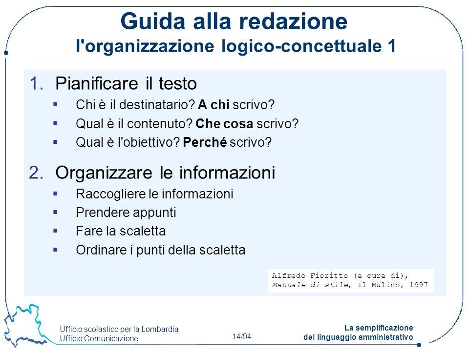 Guida alla redazione l organizzazione logico-concettuale 1