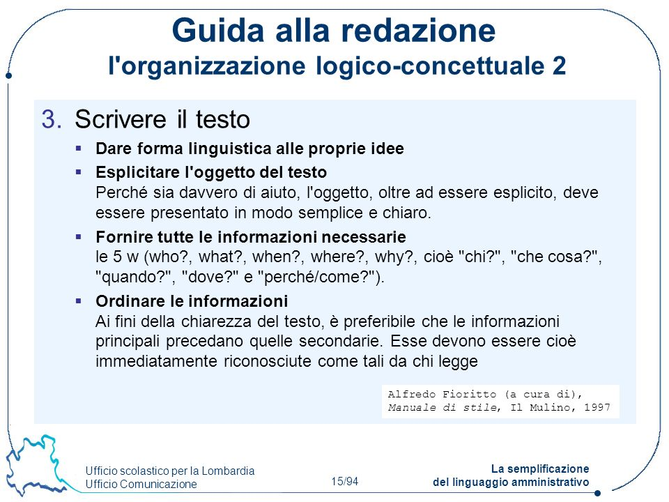 Guida alla redazione l organizzazione logico-concettuale 2