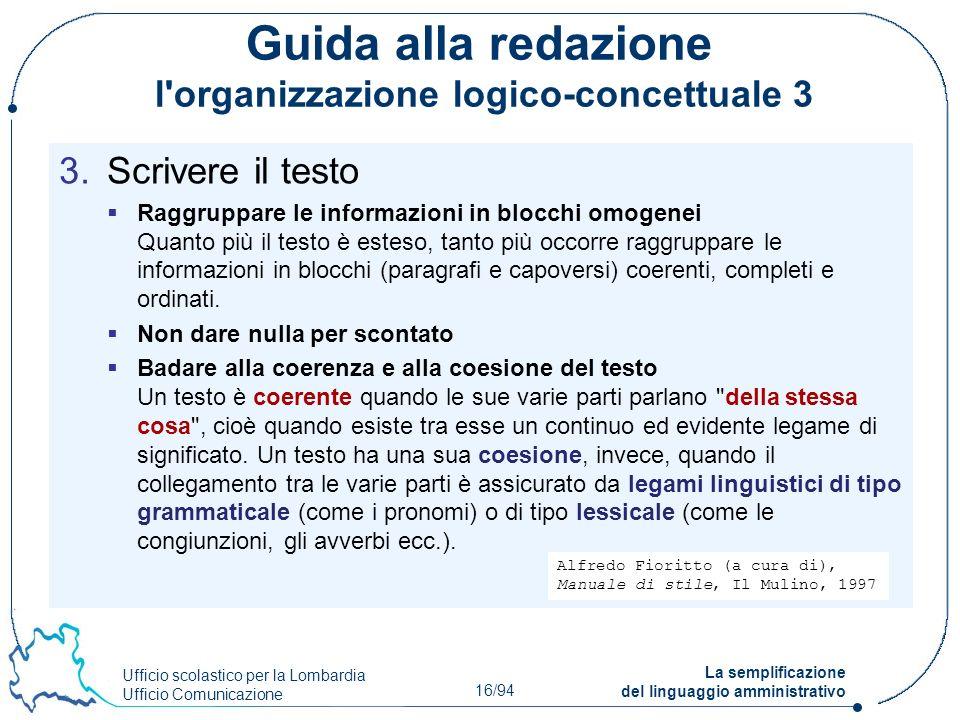 Guida alla redazione l organizzazione logico-concettuale 3