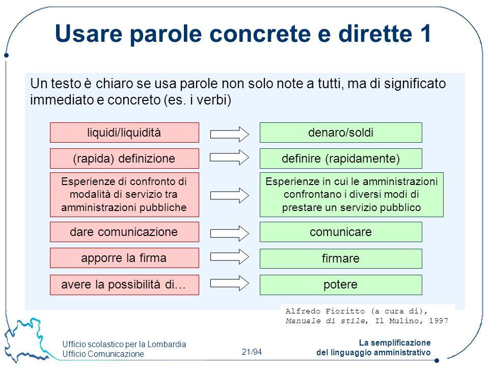 Usare parole concrete e dirette 1