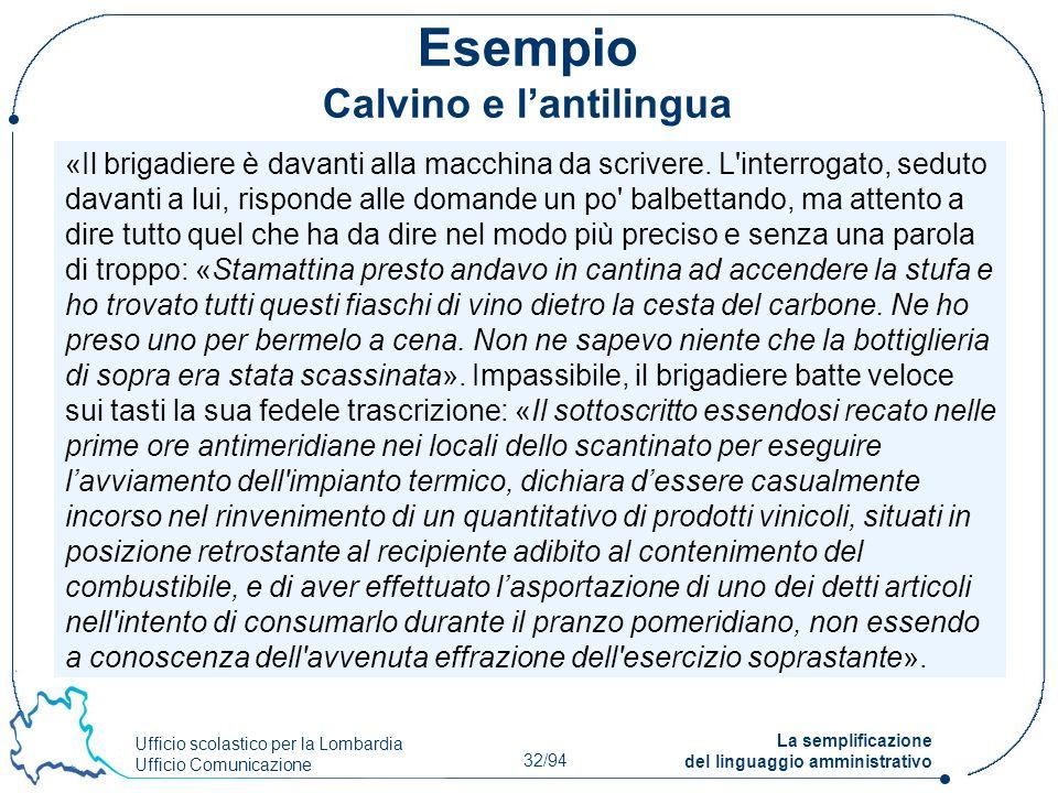 Esempio Calvino e l'antilingua