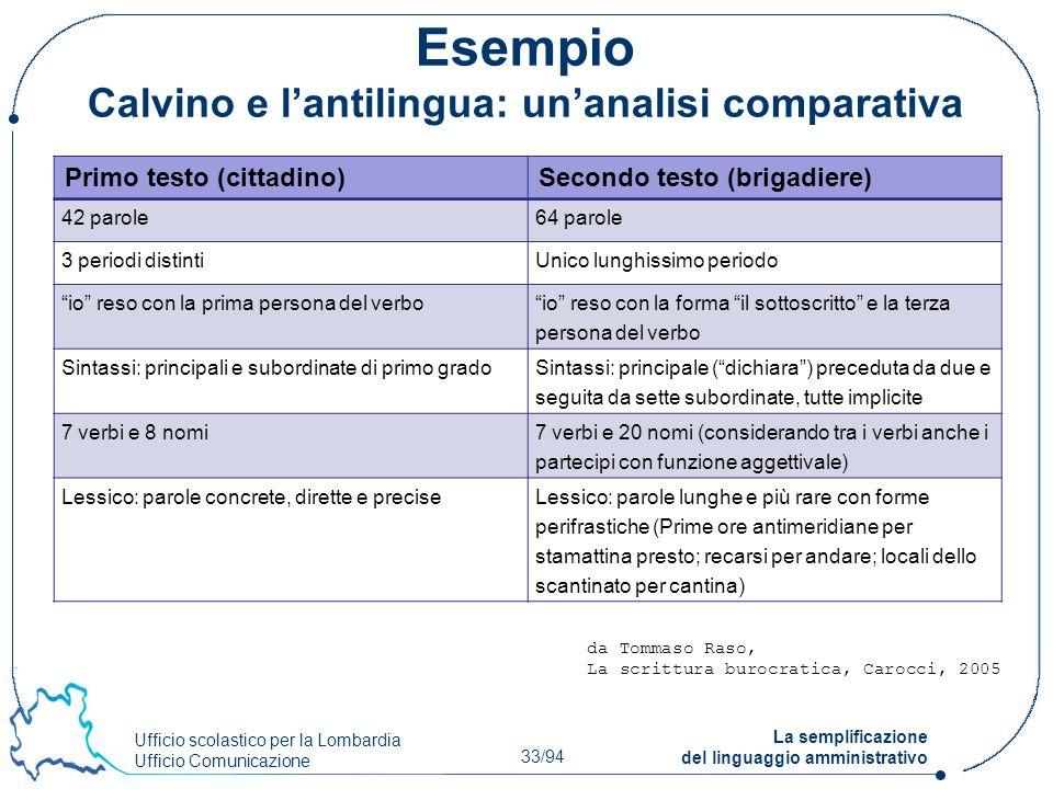 Esempio Calvino e l'antilingua: un'analisi comparativa