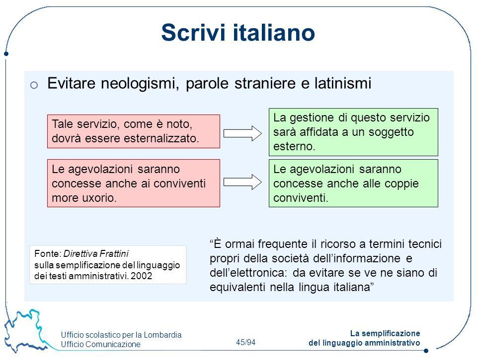 Scrivi italiano Evitare neologismi, parole straniere e latinismi