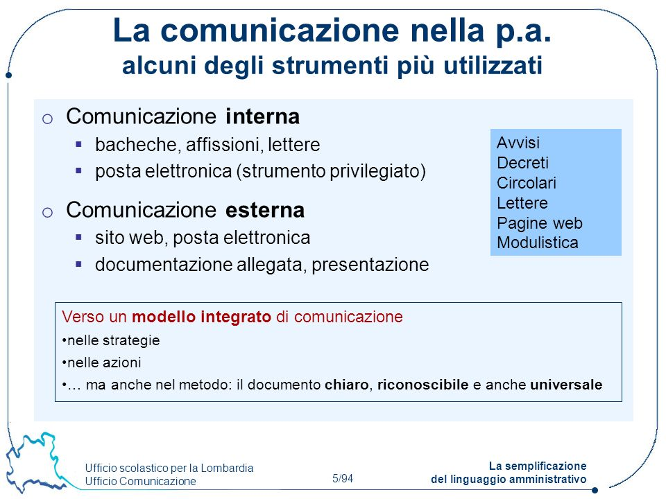 La comunicazione nella p.a. alcuni degli strumenti più utilizzati