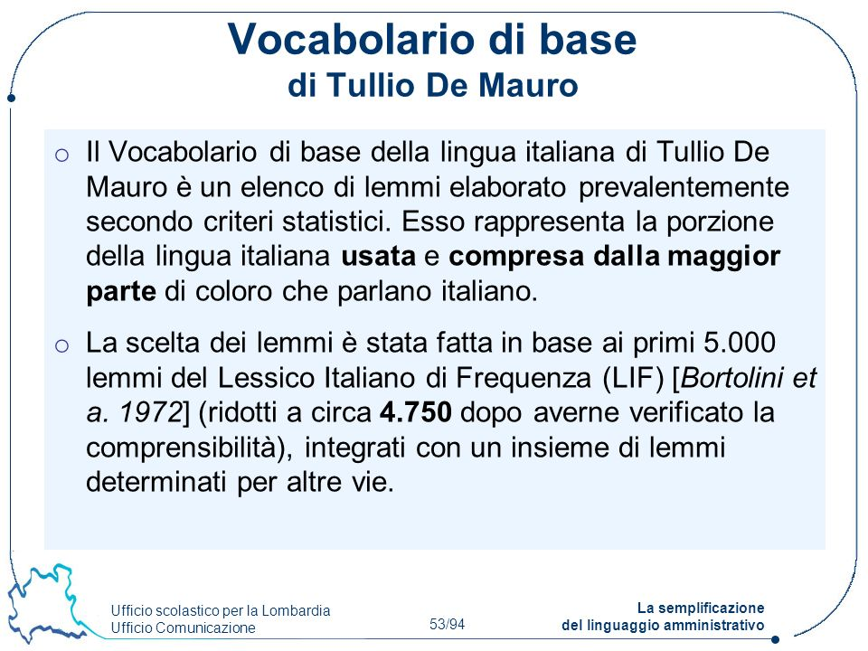 Vocabolario di base di Tullio De Mauro