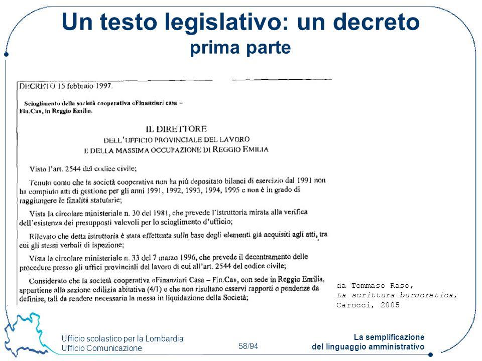 Un testo legislativo: un decreto prima parte