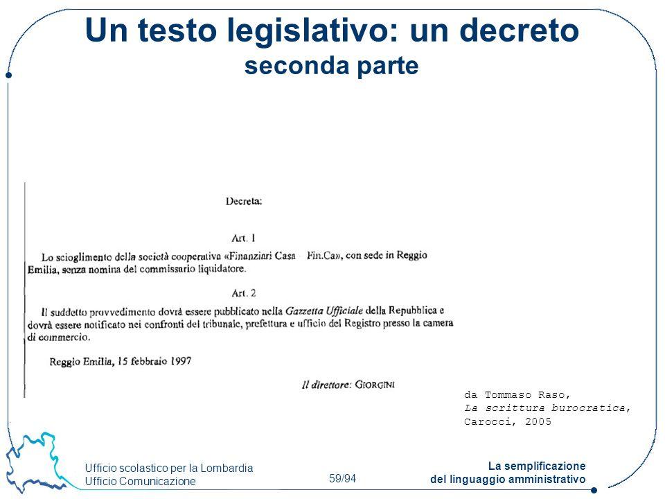 Un testo legislativo: un decreto seconda parte
