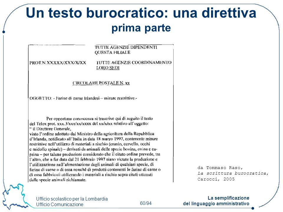 Un testo burocratico: una direttiva prima parte