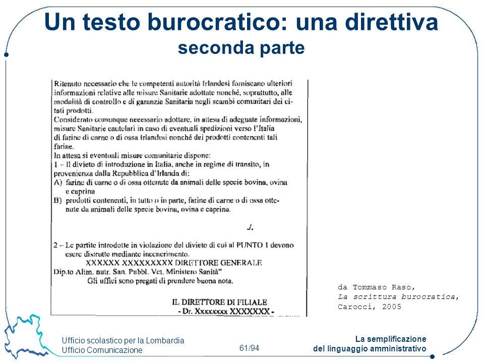 Un testo burocratico: una direttiva seconda parte