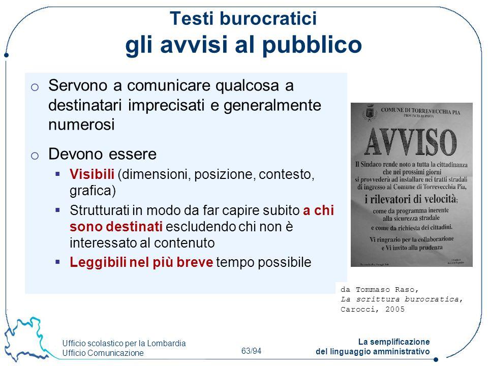 Testi burocratici gli avvisi al pubblico