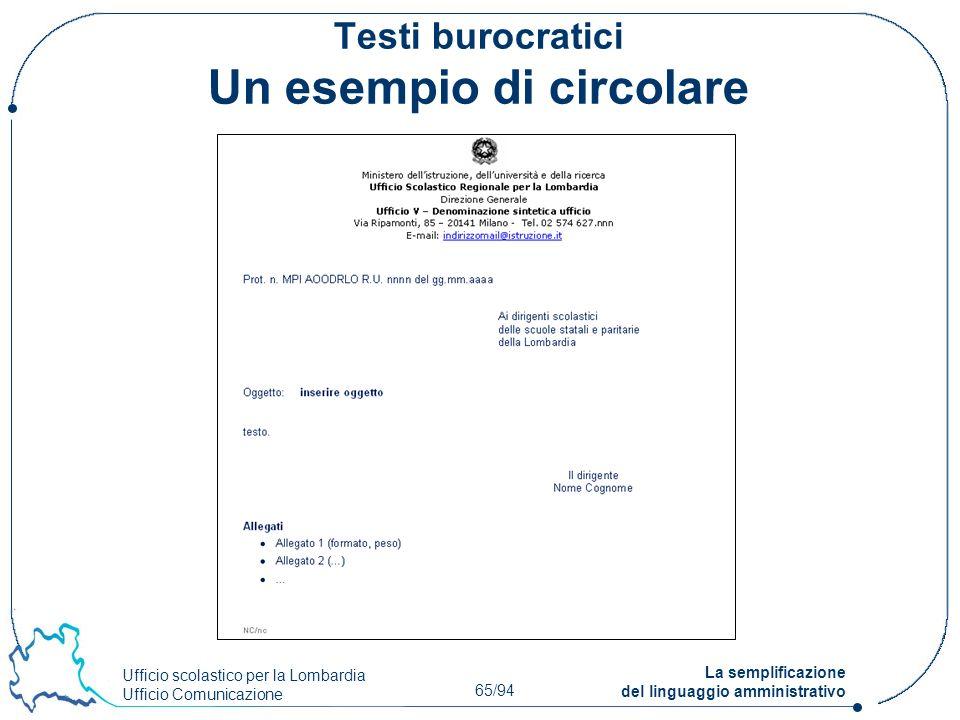 Testi burocratici Un esempio di circolare