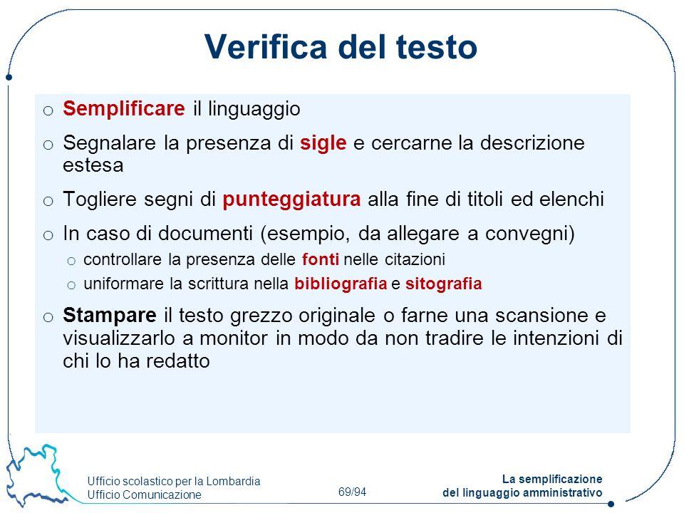 Verifica del testo Semplificare il linguaggio