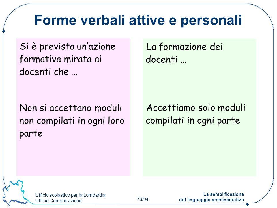 Forme verbali attive e personali