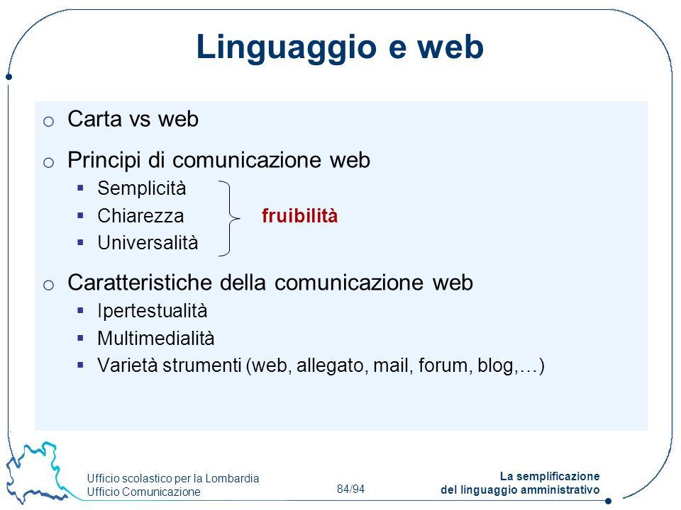 Linguaggio e web Carta vs web Principi di comunicazione web