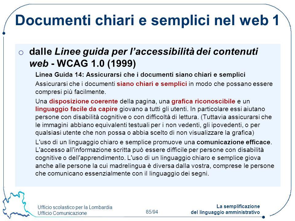 Documenti chiari e semplici nel web 1