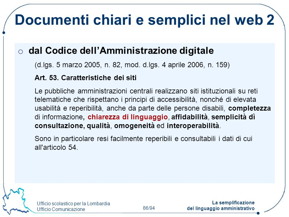Documenti chiari e semplici nel web 2