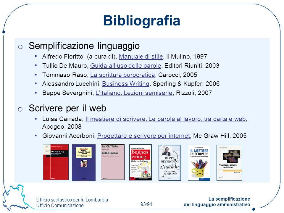 Bibliografia Semplificazione linguaggio Scrivere per il web