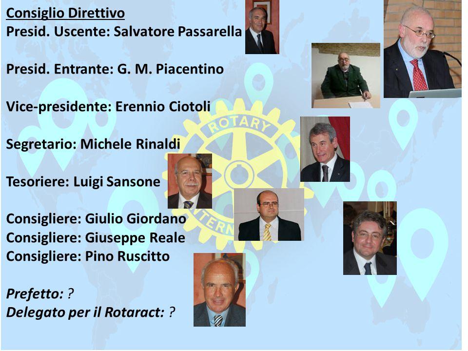 Consiglio Direttivo Presid. Uscente: Salvatore Passarella. Presid. Entrante: G. M. Piacentino. Vice-presidente: Erennio Ciotoli.
