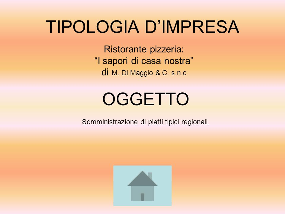 TIPOLOGIA D'IMPRESA OGGETTO Ristorante pizzeria: