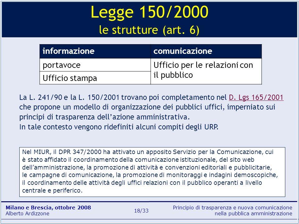 Legge 150/2000 le strutture (art. 6)