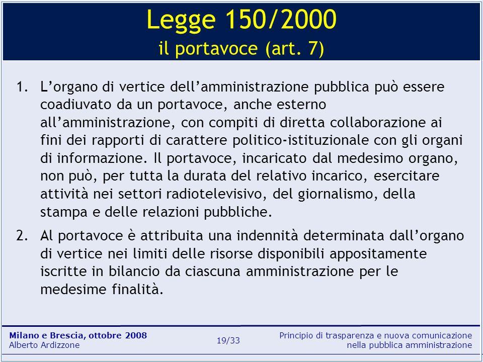Legge 150/2000 il portavoce (art. 7)