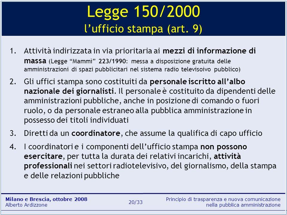 Legge 150/2000 l'ufficio stampa (art. 9)