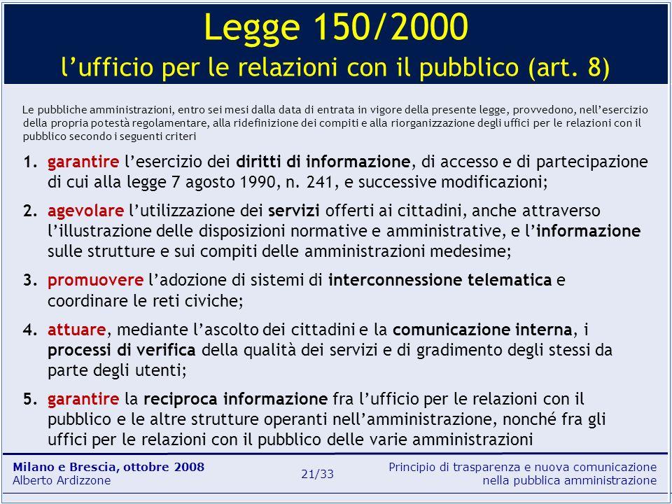 Legge 150/2000 l'ufficio per le relazioni con il pubblico (art. 8)
