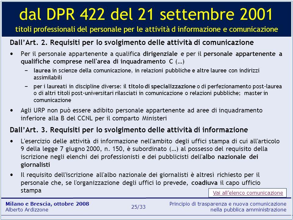dal DPR 422 del 21 settembre 2001 titoli professionali del personale per le attività d informazione e comunicazione