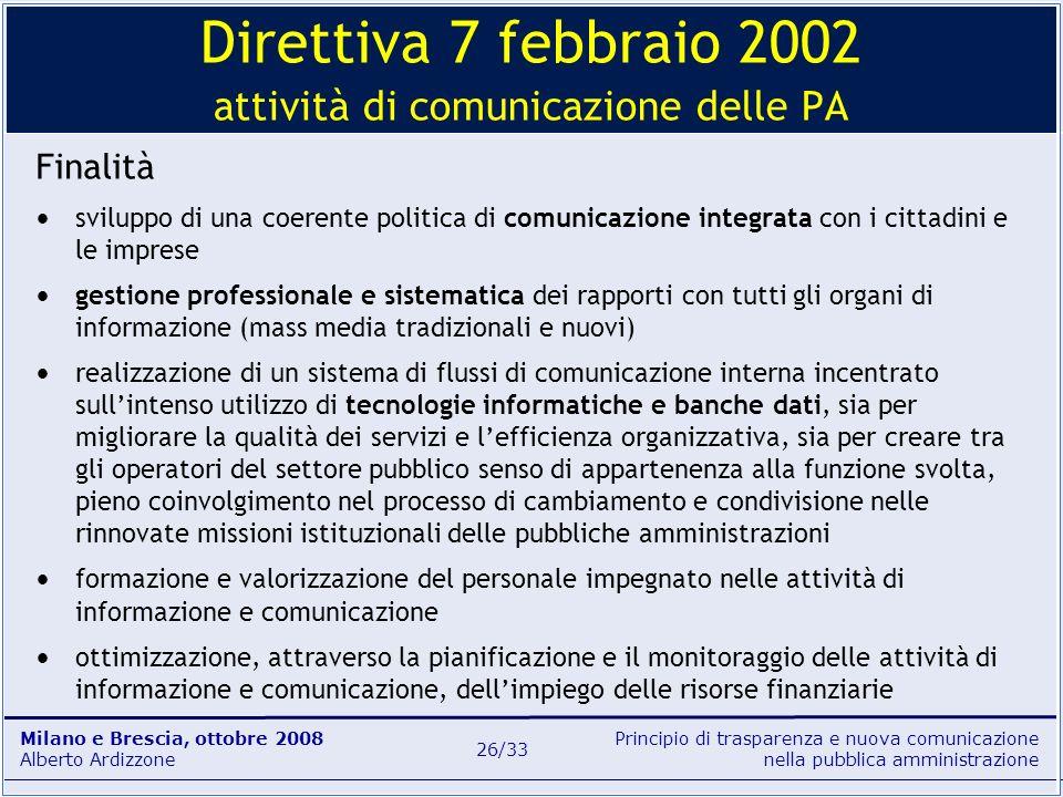 Direttiva 7 febbraio 2002 attività di comunicazione delle PA